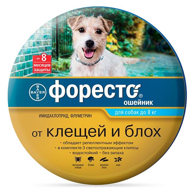 Форесто (Bayer) ошейник от блох и клещей инсектоакарицидный для взрослых собак и щенков мелких пород